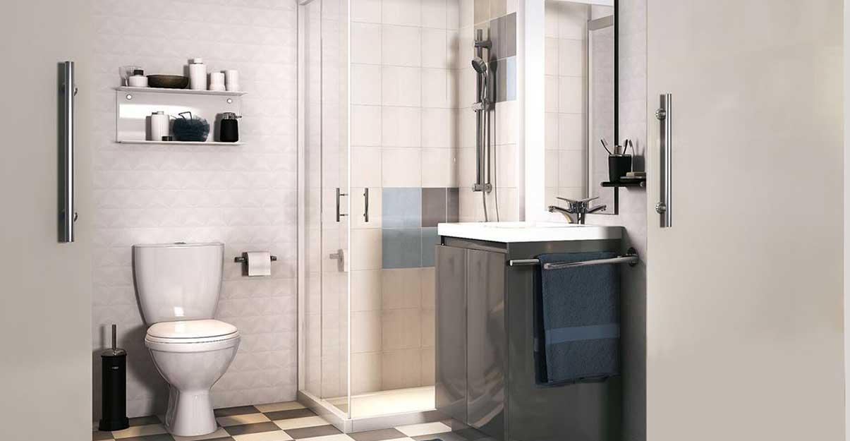 Aménagement douche meuble et WC dans une salle de bain à espace réduit – Envie de salle de bain