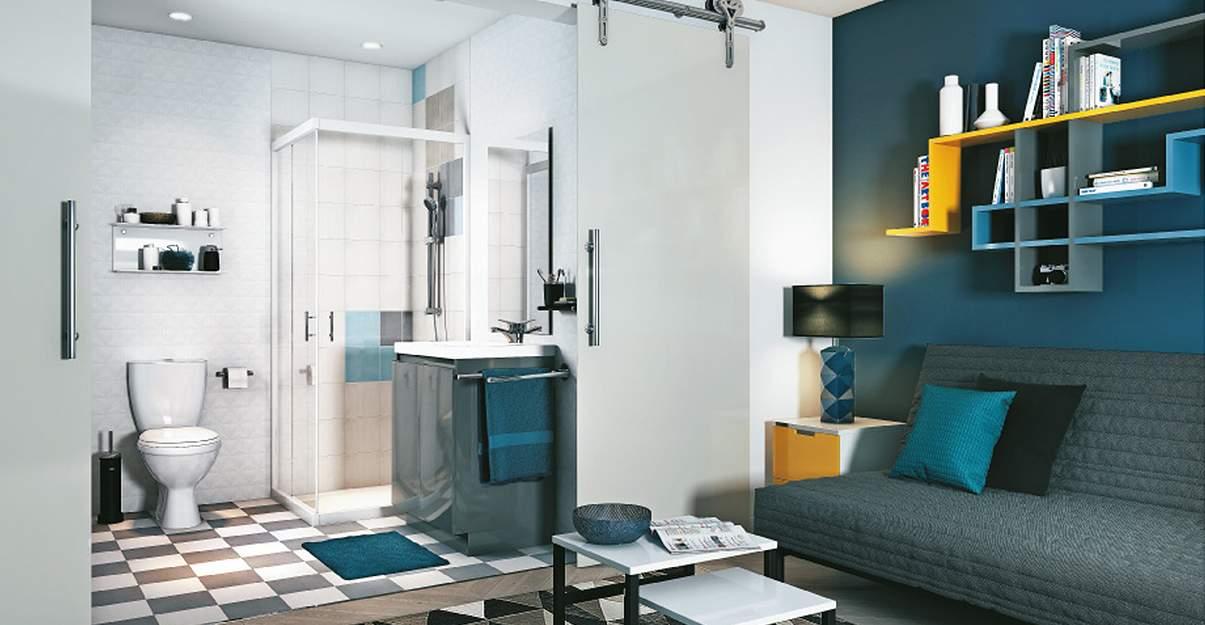 Configuration optimisée pour petite salle de bain – Style Géométrique – Envie de salle de bain