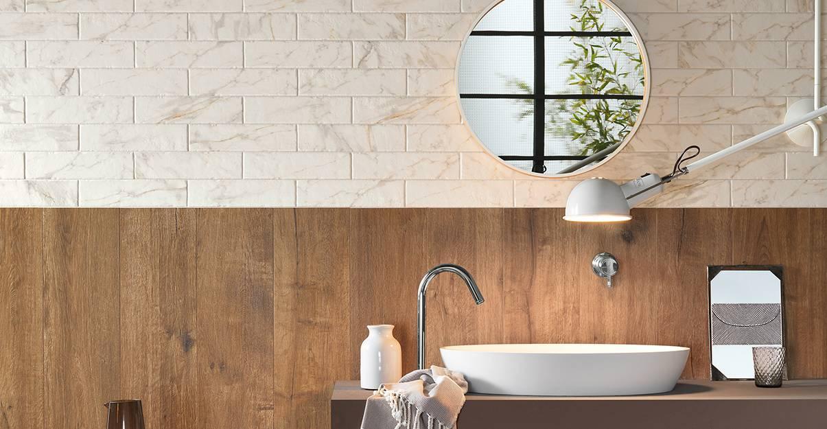 Carrelage salle de bain : des effets matières bluffant