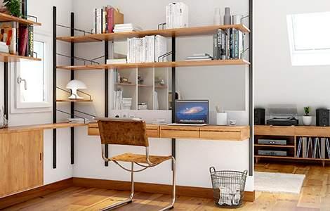 L'équipement d'un bureau sous les combles style vintage