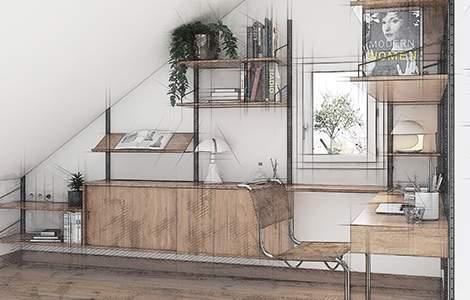 Bureau sous les combles : les fenêtres