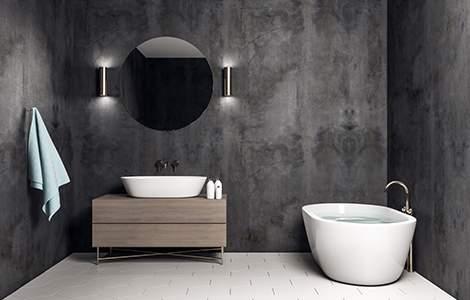 Enduit salle de bain : le béton ciré, pour une salle de bain industrielle