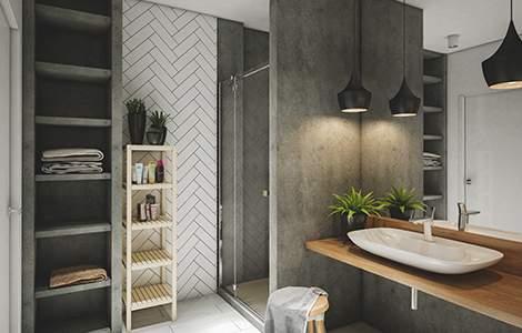 Salle de bain grise et blanche rehaussée de bois