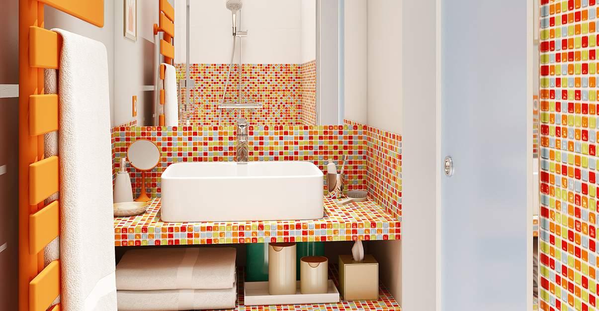 De la couleur dans une salle de bain sans fenêtre