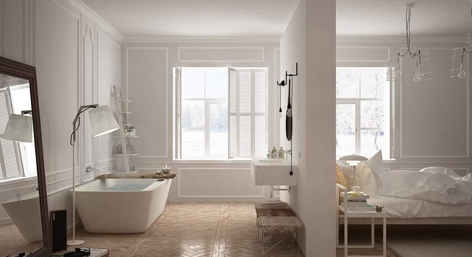 Salle de bains dans chambre - Espace douche/bain