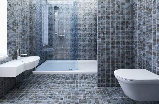 Une douche en mosaïque