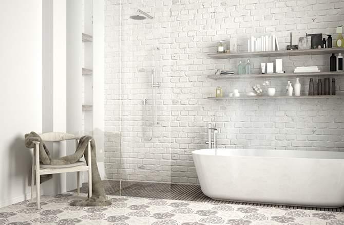Salle de bain blanche et beige