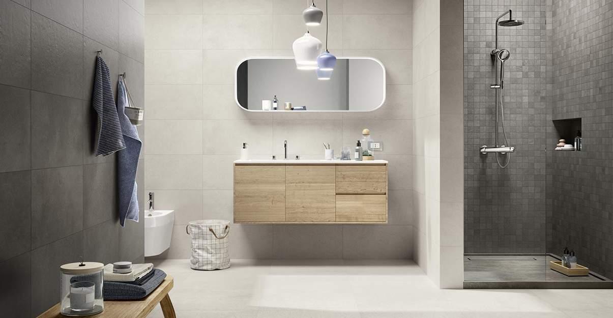 Salle de bain grise et beige, chic et douce