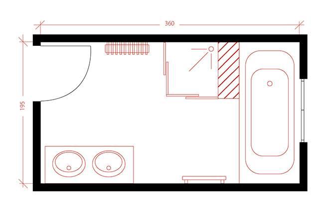Salle de bains plan filaire