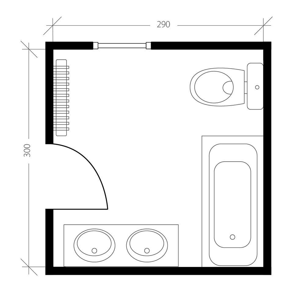 Salle de bain pour sénior, plan avant