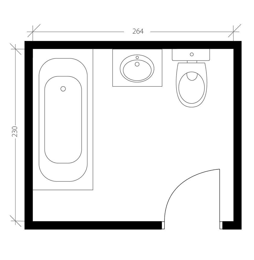 Salle de bain industrielle, plan avant