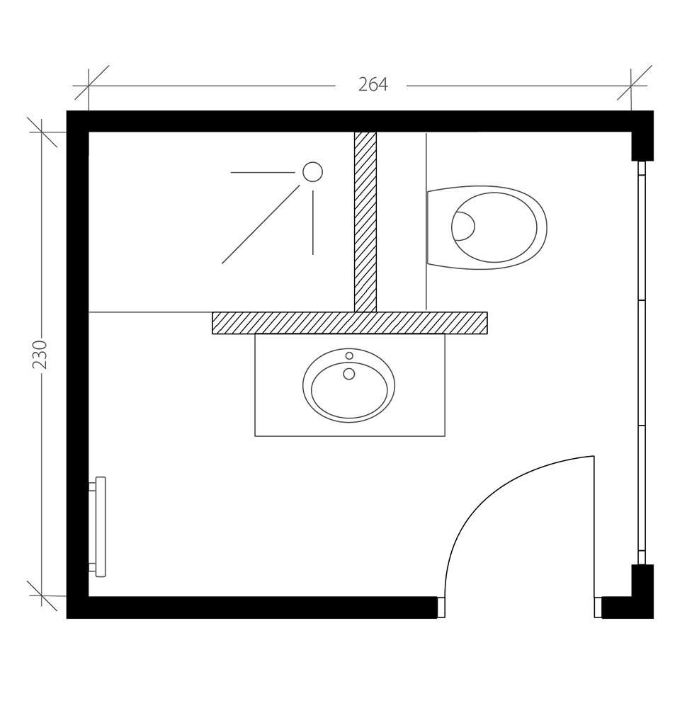 Salle de bain industrielle, plan après