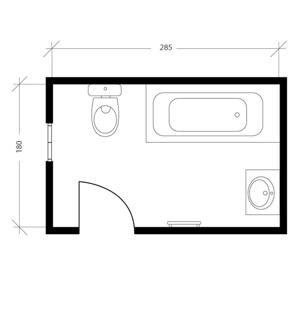 Salle de bain accessible, plan avant