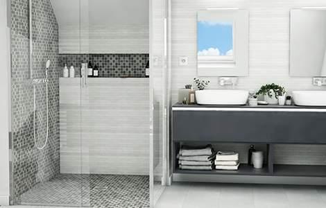 Revêtement mural de salle de bain:  la mosaïque
