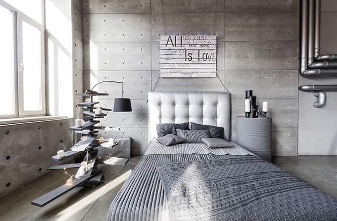 Style Industriel chambre matières Saint-Gobain.fr