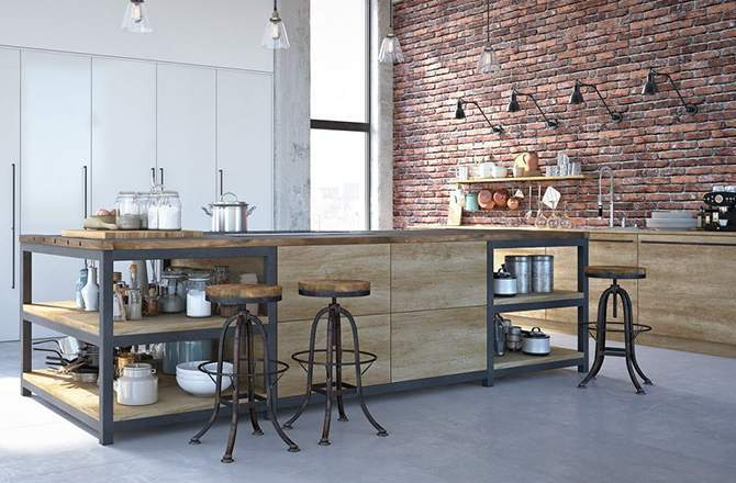Style Industriel cuisine meuble mixte bois métal Saint-Gobain.fr