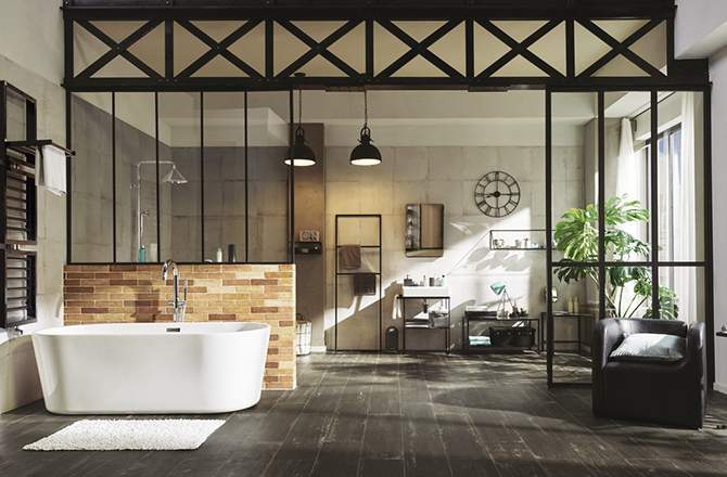 Style Industriel salle de bains verrière