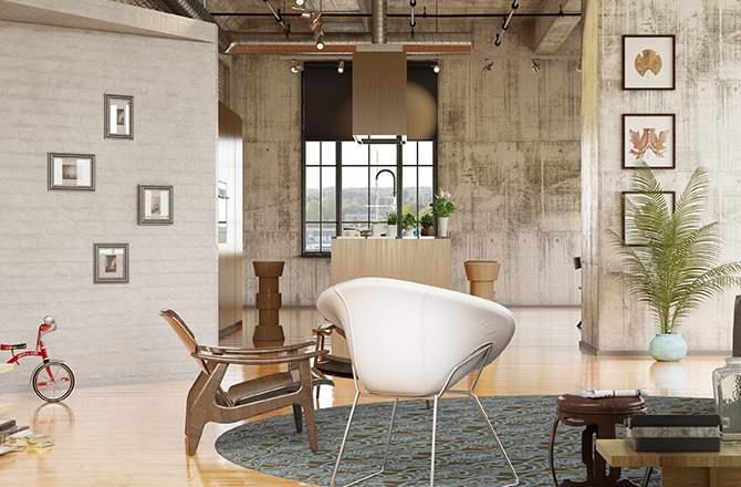 Style vintage salon matières La Maison Saint-Gobain