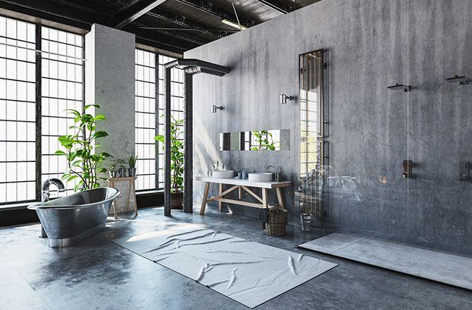 Revêtement sol salle de bain industrielle métal