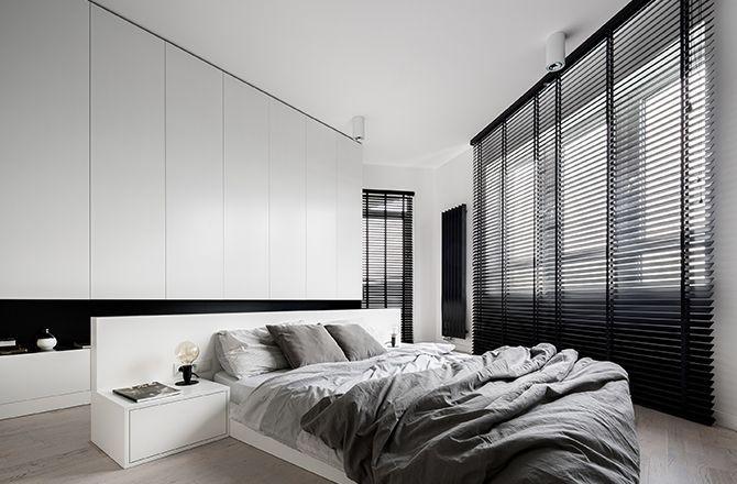 Chambre moderne grise et blanche