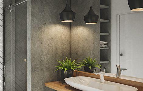 Revêtement mur salle de bain industrielle: le béton ciré