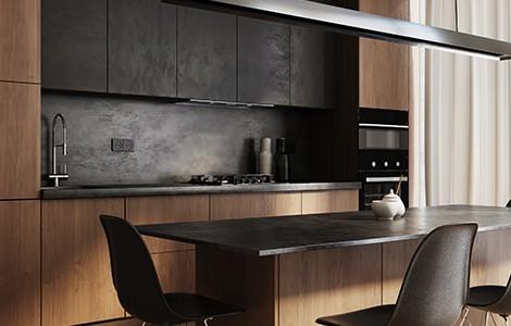 Une cuisine moderne en bois foncé