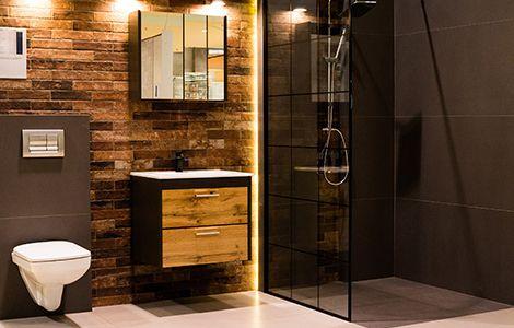 Revêtement mur salle de bain industrielle: la brique