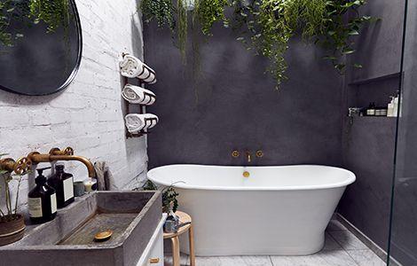 Revêtement mur salle de bain industrielle: la peinture grise