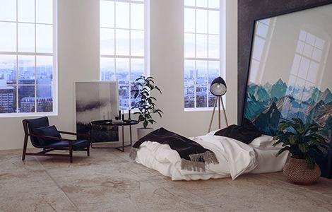 Revêtement chambre moderne: le carrelage