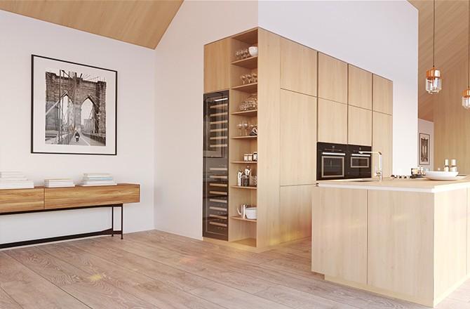 Une cuisine qui s'harmonise avec les tons du reste de la maison