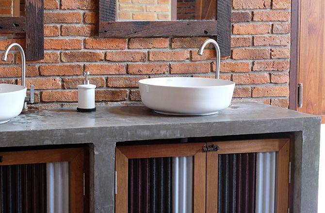 Mobilier salle de bain industrielle en béton ciré