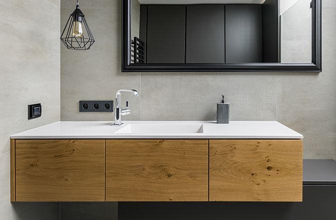Mobilier salle de bain industrielleen bois et metal