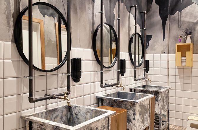 Mobilier salle de bain industrielleen métal