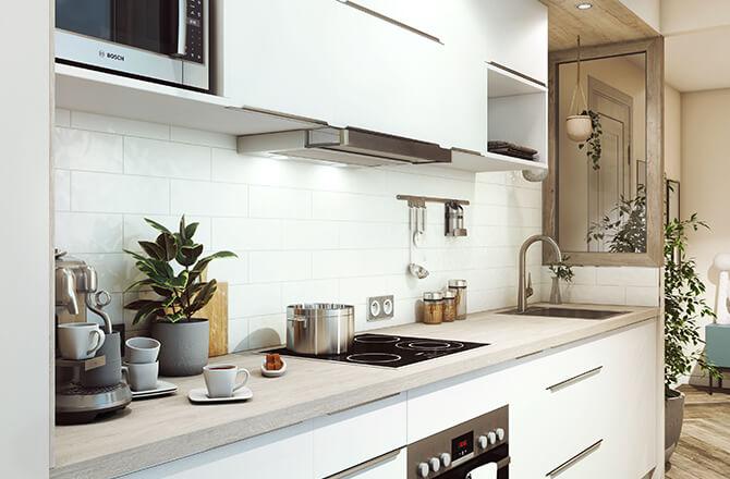 Aménager une petite cuisine: verrière en bois