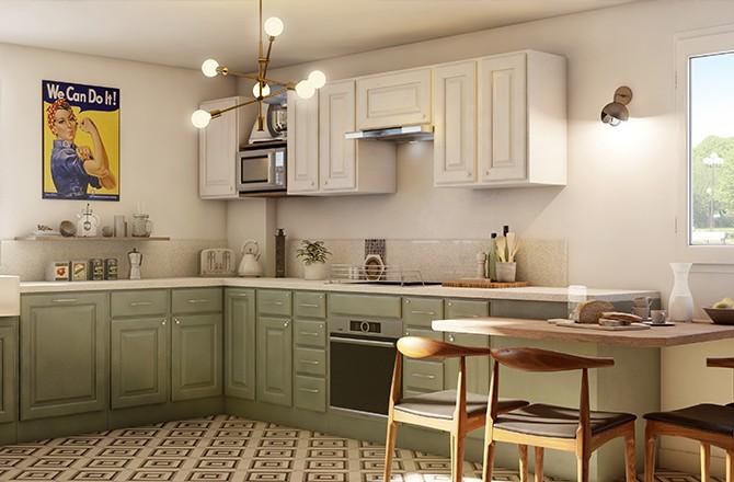 Rénover une cuisine rustique: repeindre les meubles et alléger