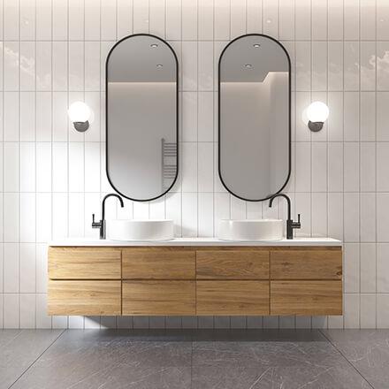 Double vasque double miroir