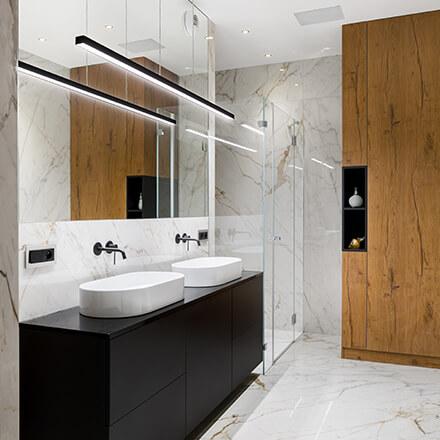 Double vasque miroir large