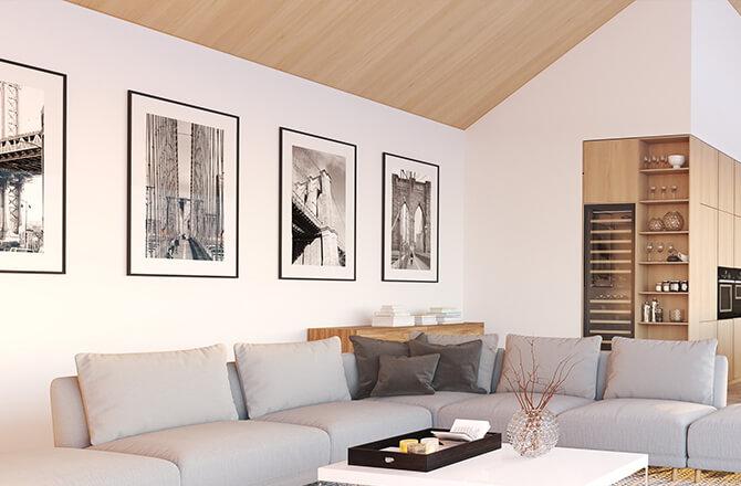 Finition pour plafond lambris bois