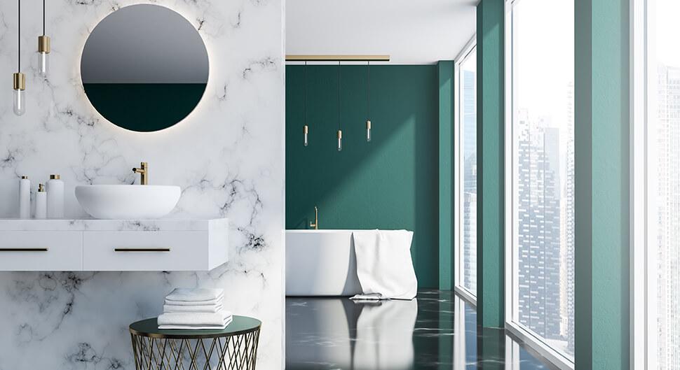 Marbre et terrazzo dans la salle de bain