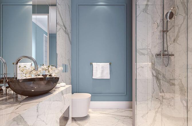 Marbre blanc salle de bain