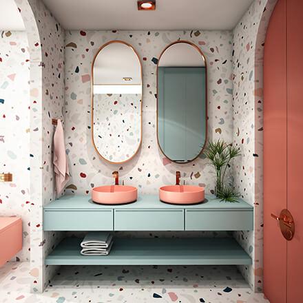 Terrazzo pastel salle de bain