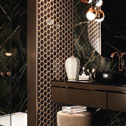 Salle de bain mosaïque verre hexagone