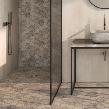 Douche italienne mosaïque pierre hexagolane