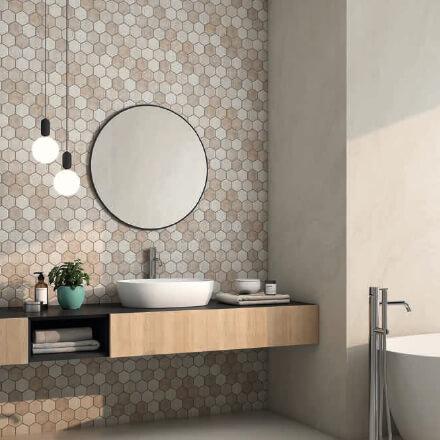 Salle de bain mosaïque beige douce