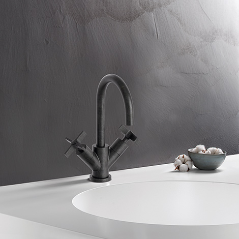 Mélangeur lavabo CROSS ROAD chromé noir brossé
