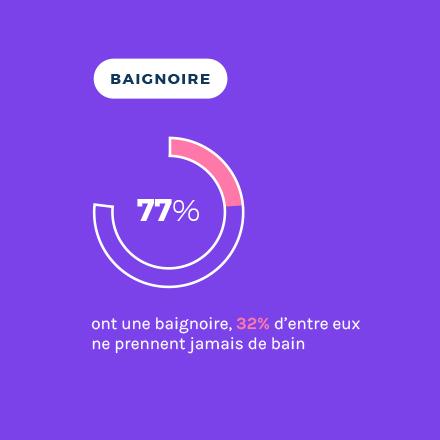 Baignoire taux d'équipement en France