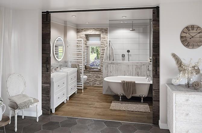 Salle de bain ouverte: séparation visuelle