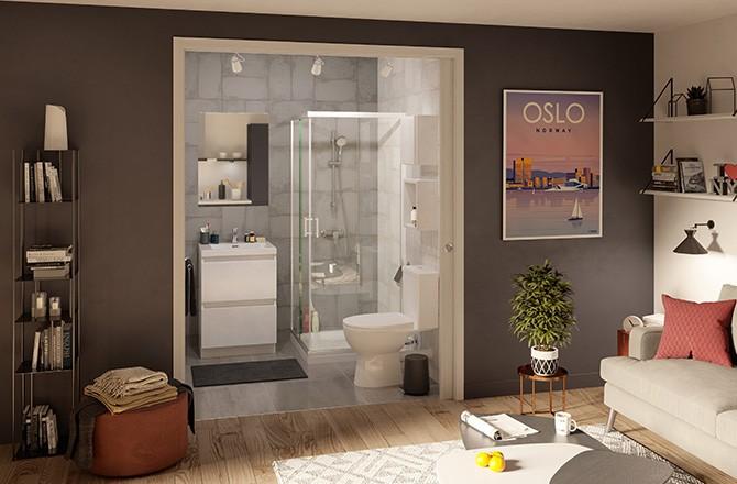Salle de bain ouverte et porte à galandage