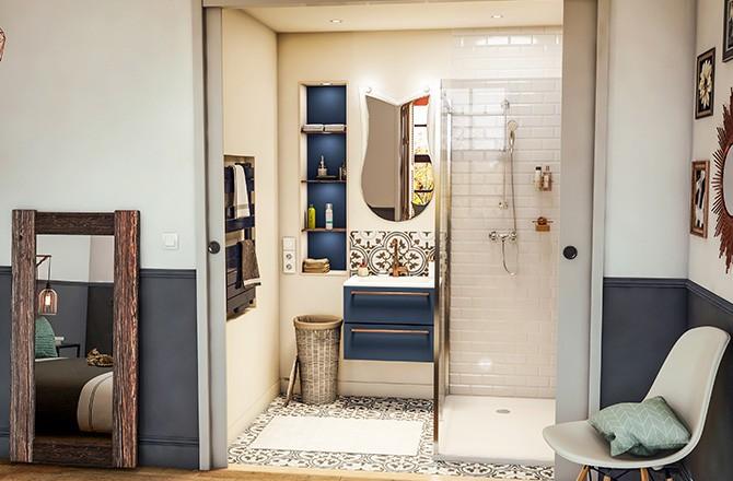 Salle de bain ouverte douche