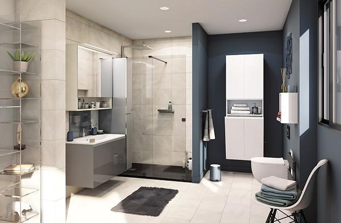 Salle de bain ouverte sol uniforme